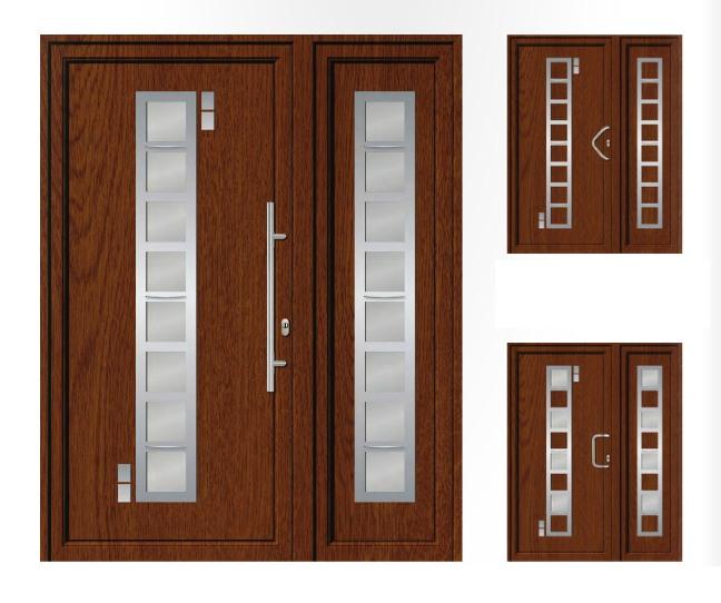 Porta d'ingresso in PVC | noce e acciaio inox