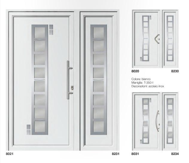 Porta d'ingresso in PVC | bianco e acciaio inox