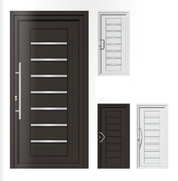Porta d'ingresso in PVC   grigio antracite / bianco