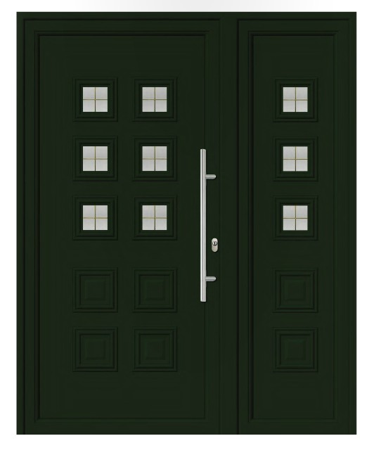 Porta d'ingresso in PVC   verde, linea classica