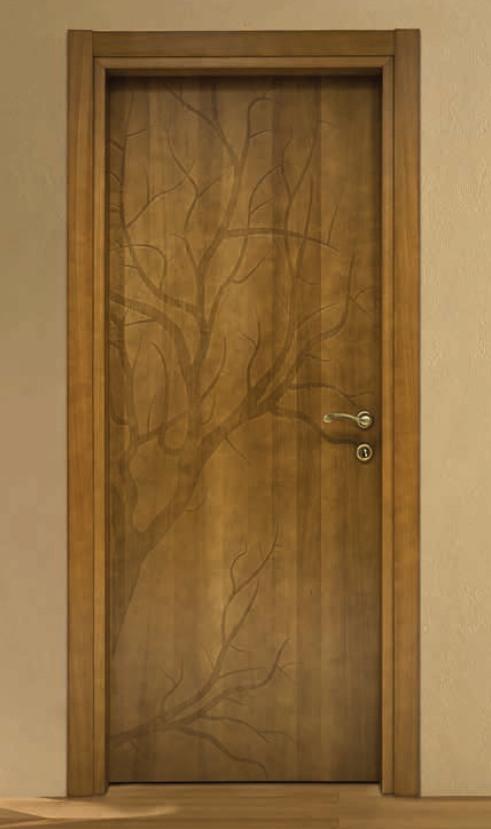 Porta per interni in legno   noce decorato