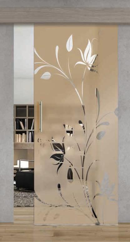 Porta per interni in vetro   ramo fiorito