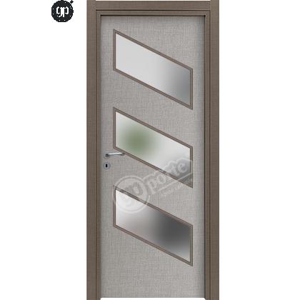 Porta interna in laminato  grigio con vetri
