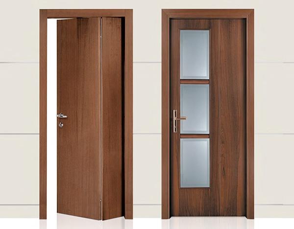 Porta interna in laminato| scorrevole e non|Noce chiaro con vetri