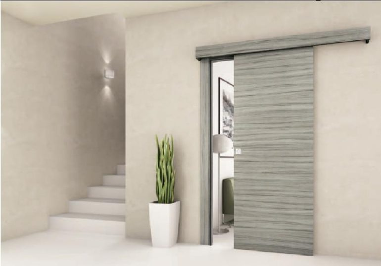 Porta interna in laminato scorrevole esterno muro mantovana ligurgo infissi - Porte scorrevoli da esterno ...
