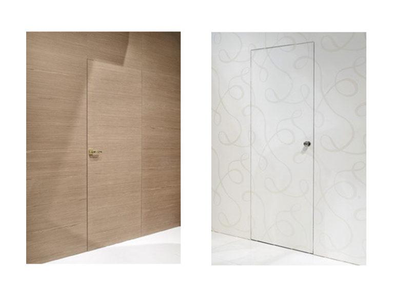 Porta interna in laminato| filo muro bianco e rovere