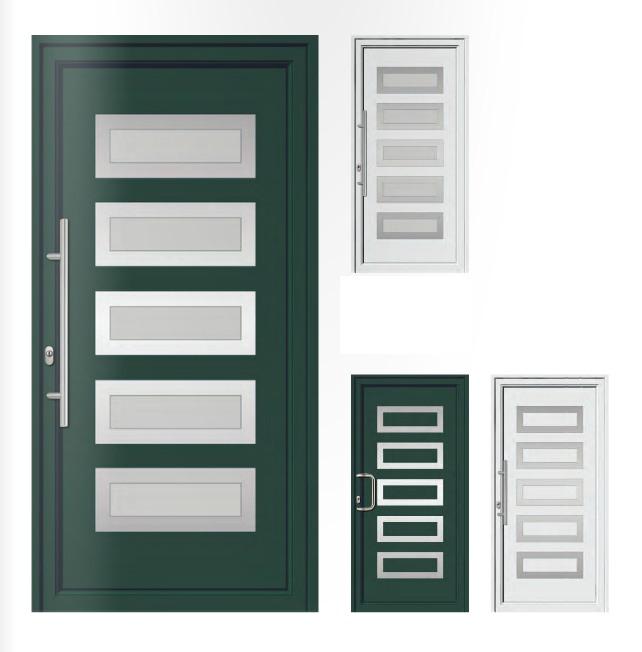 Porta d'ingresso in PVC   verde cromo / bianco