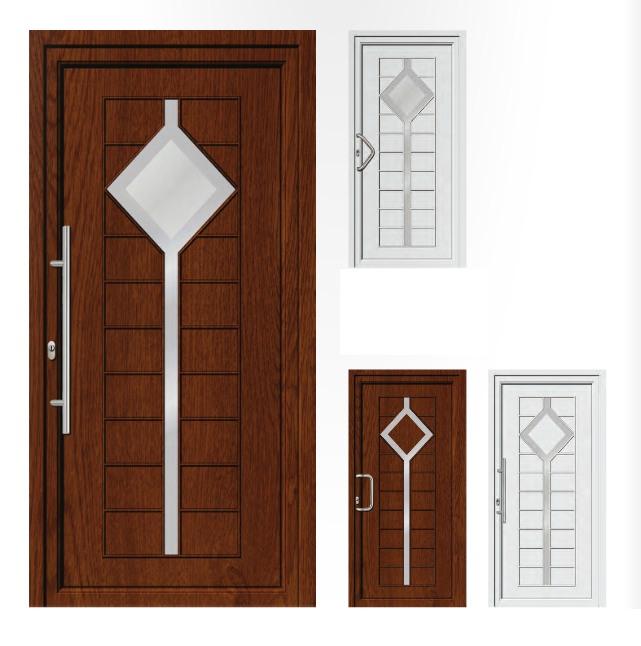 Porta d'ingresso in PVC | rovere dorato / bianco