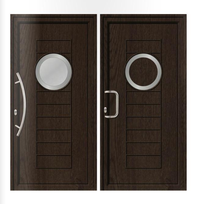 Porta d'ingresso in PVC | rovere e acciaio inox