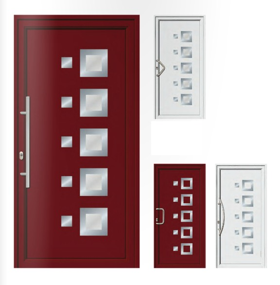 Porta d'ingresso in PVC | rosso porpora / bianco