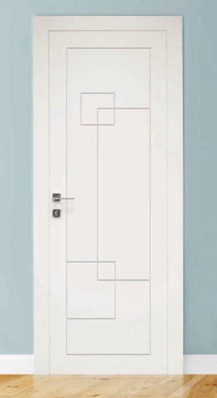 Porta per interni in legno | bianco inciso