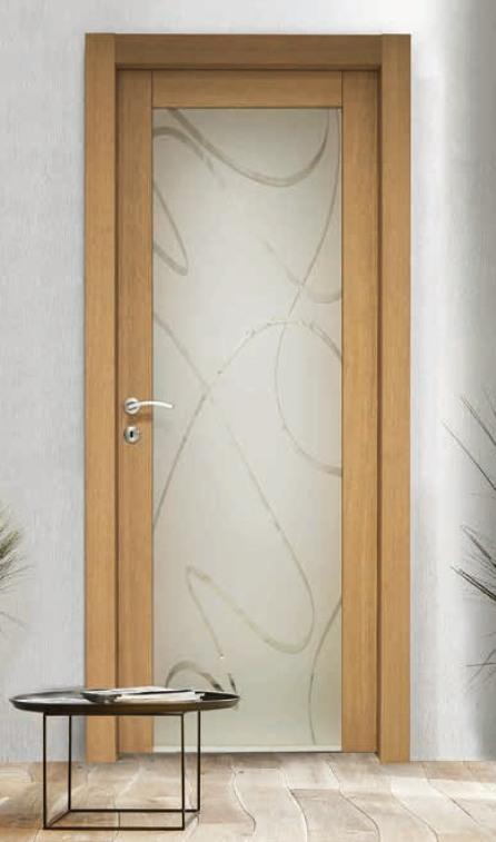 Porta per interni in legno | rovere e vetro satinato