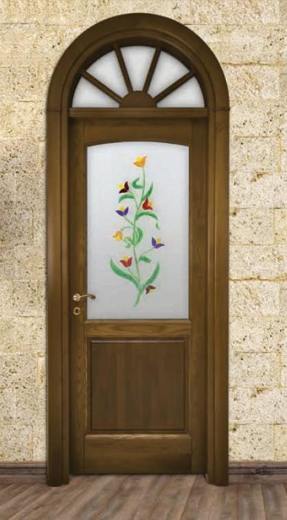 Porta per interni in legno | noce e vetro dipinto