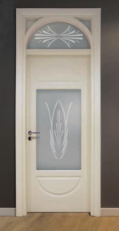 Porta per interni in legno | avorio e vetro sabbiato