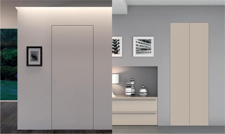 Porta interna in laminato  filo a muro bianco