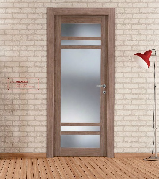 Porta interna in laminato| ciliegio con vetri